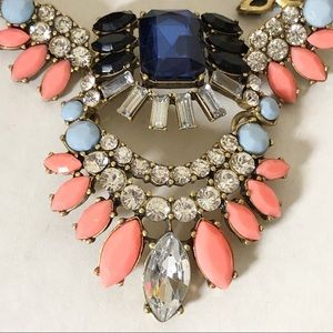 J Crew statement necklace large blue stone